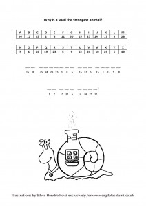 Snail cryptogram Illustrated word games