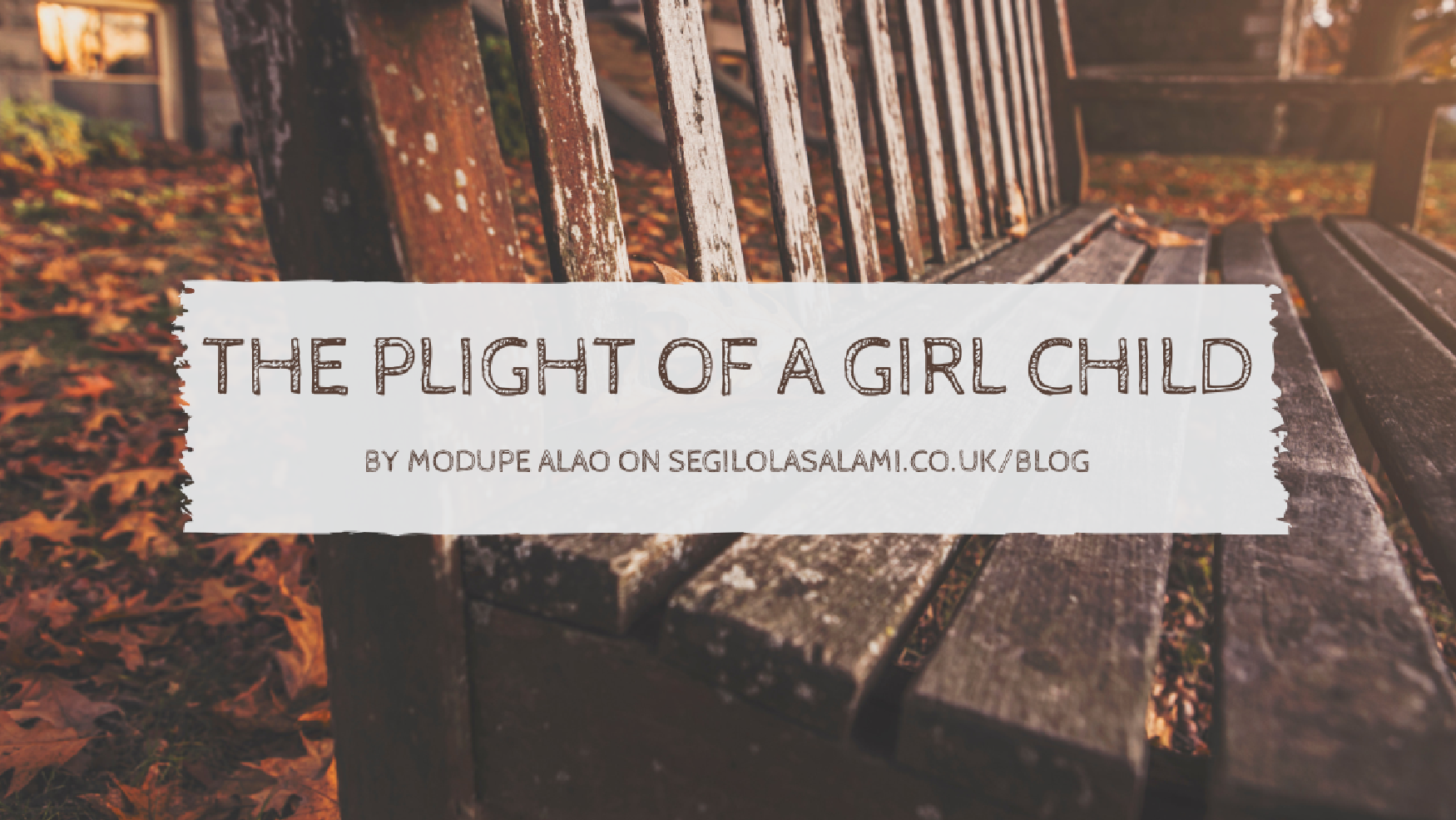 the plight of a girl child in a developing country by modupe alao on segilola salami blog