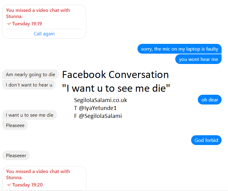 "He said to me on Facebook ""I want you to see me die . . ."""