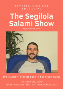 author brett leboff talks about his mental health issues on podcast the segilola salami show cover art
