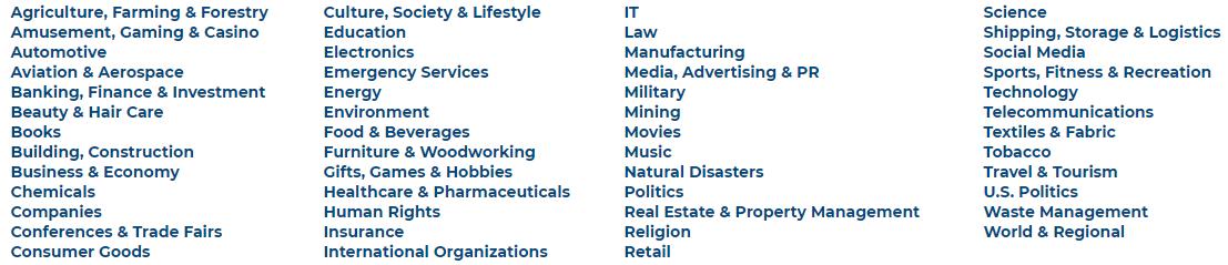 Press Release Distribution Categories