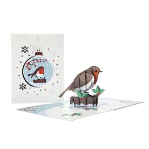 xmas pop up cards for all the family 2021 by cardology. design is of a robin bird
