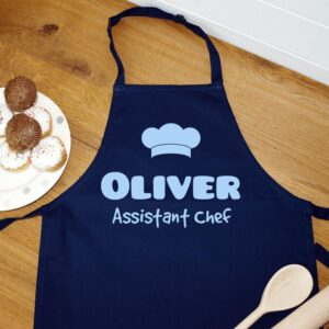personalised apron for children that you can get their names printed on and with the words assistant chef